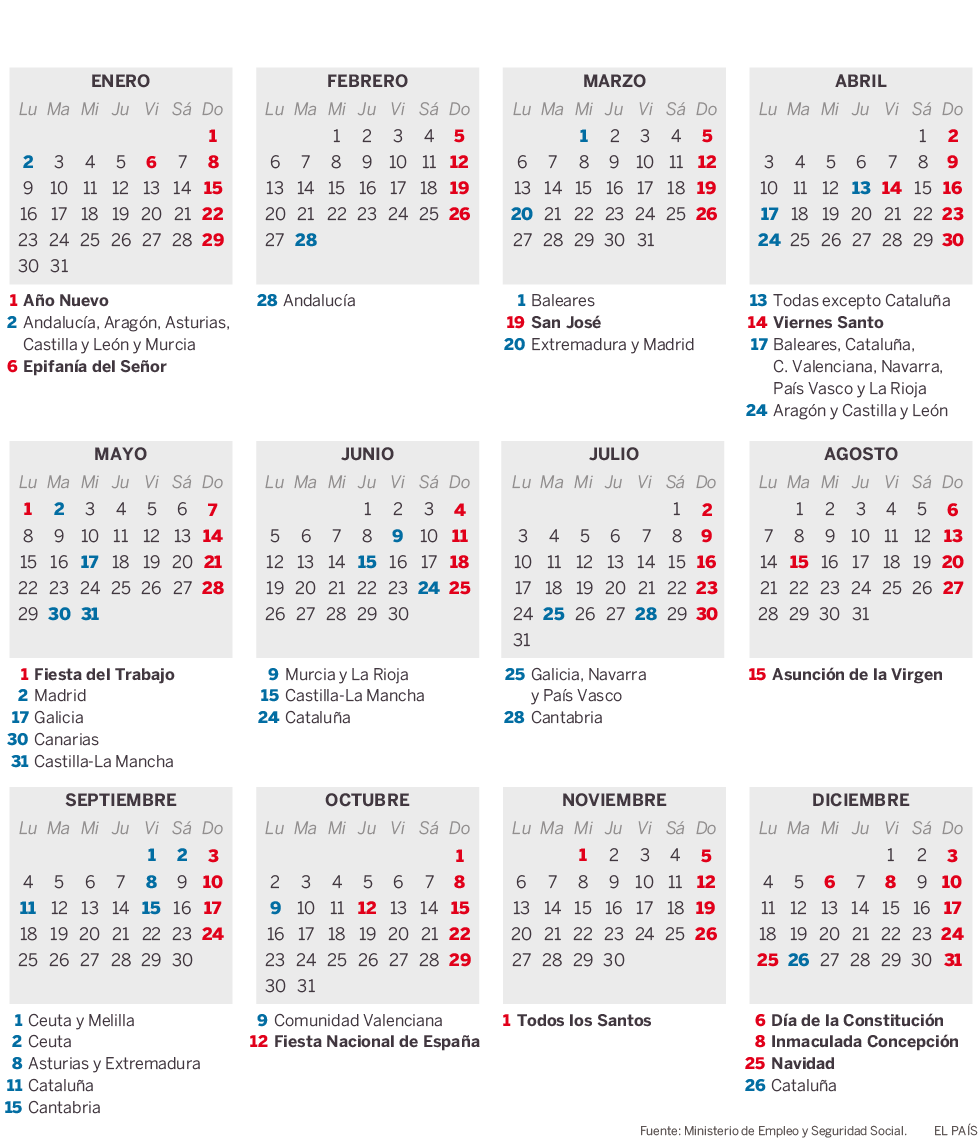 Calendario 2017 y 2018 con dias festivos newcalendar for Eventos madrid mayo 2017
